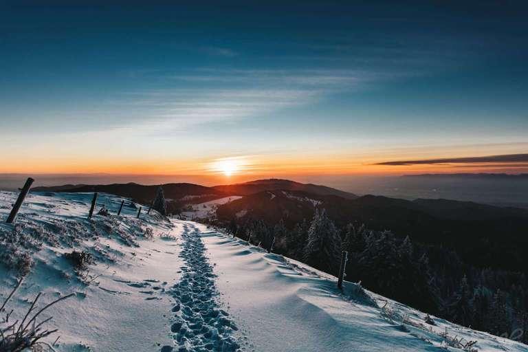 Sonnenuntergang im Schnee auf dem Belchen