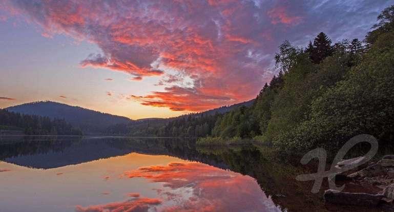 Sonnenuntergang an der Schwarzenbach Talsperre