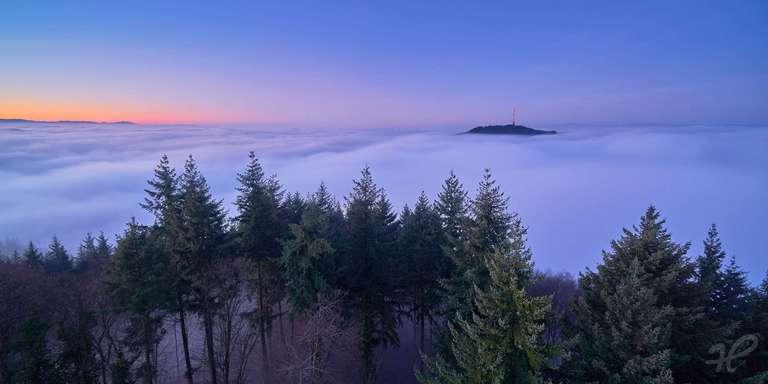 Eichelspitz über dem Nebel