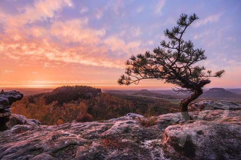 Sonnenuntergang im Elbsandstein