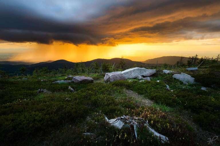 Schwarzwaldgewitter trifft Sonnenuntergang