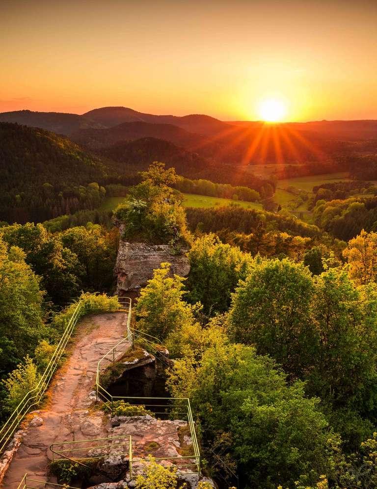 Burg Drachenfels Sonnenuntergang im Sommer