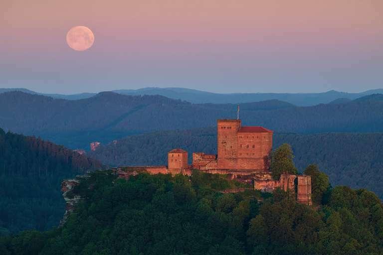 Wonnemond zum Sonnenaufgang an der Burg Trifels