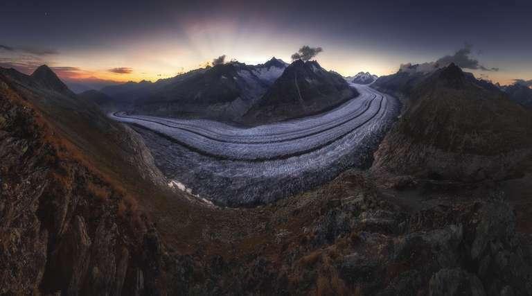 Sonnenuntergang am Aletschgletscher