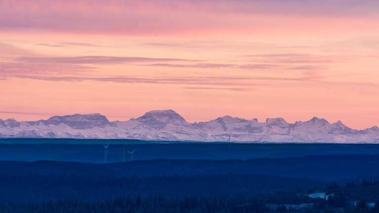 Weitsicht - Blick auf die Alpen von der Hornsigrinde
