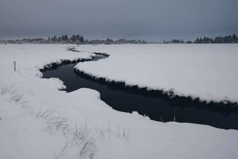 Fluss im verschneiten Moor bei Murnau