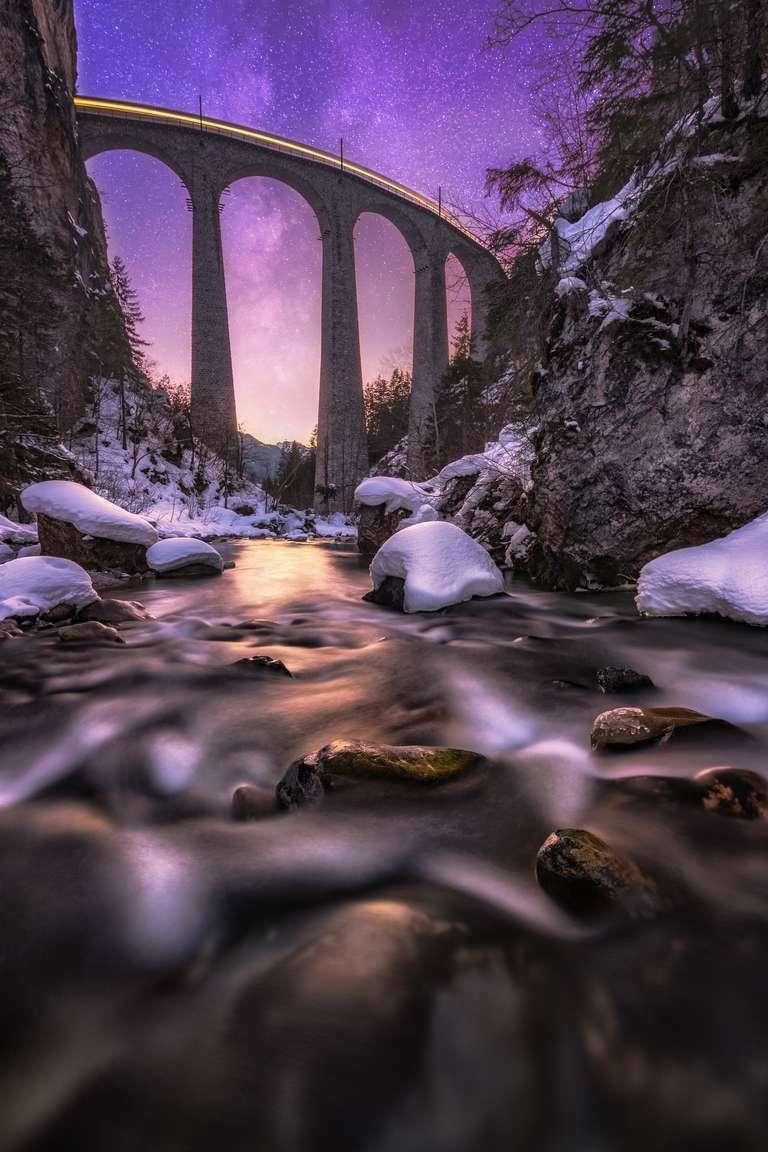 Winternacht am Landwasserviadukt
