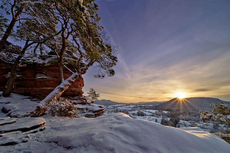 Pfalz - Winter, Schnee und ein Sonnenaufgang