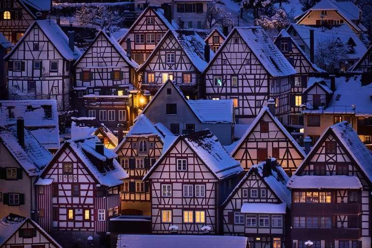 Fachwerkhäuser im Winter