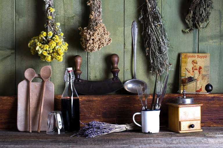 rustikale Küchenszene
