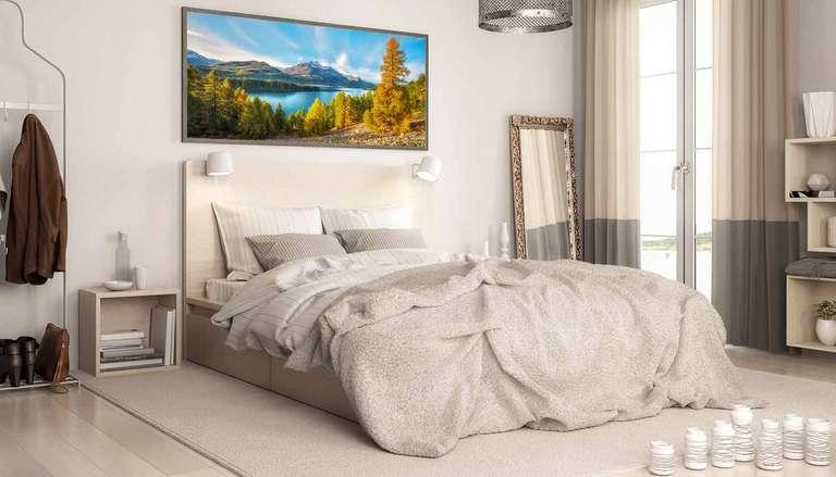 Ein Panorama Wandbild von Heimatfotos aus der Schweiz in einem Schlafzimmer - Schadstofffreier UV-Direktdruck auf Leinwand in bester Bildqualität mit Rahmen - Ein Foto von Fotograf und André Wandrei aus der Schweiz - Das Foto wurde im Engadin (Graubünden) aufgenommen und zeigt Berge und einen See