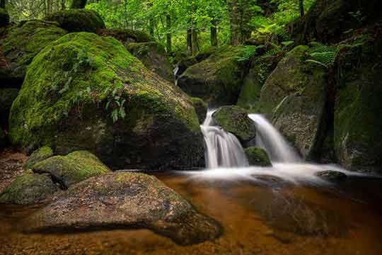 Da sind wir daheim... - Ein Foto von Fotograf Rolf Hillert aus Baden-Baden. Das Foto zeigt einen der bekanntesten Wasserfälle im Schwarzwald (Black Forest), die Gertelbach Wasserfälle in Bühlertal. Das Foto wird von Heimatfotos als hochqualitatives Wandbild in unterschiedlichen größen und auf unterschiedliche Materialien gedruckt angeboten.