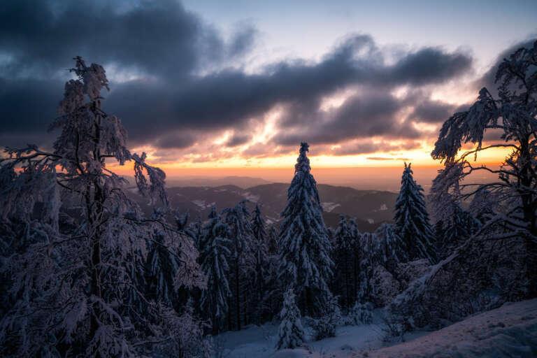 Winterlichter Schwarzwald bei Dämmerung