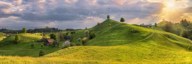 Hügellandschaft im Abendlicht