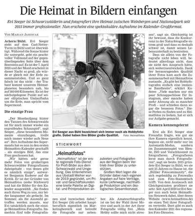Zeitungsartikel über Evi Seeger und Heimatfotos in der Acher-Rench-Zeitung vom 04.11.2020